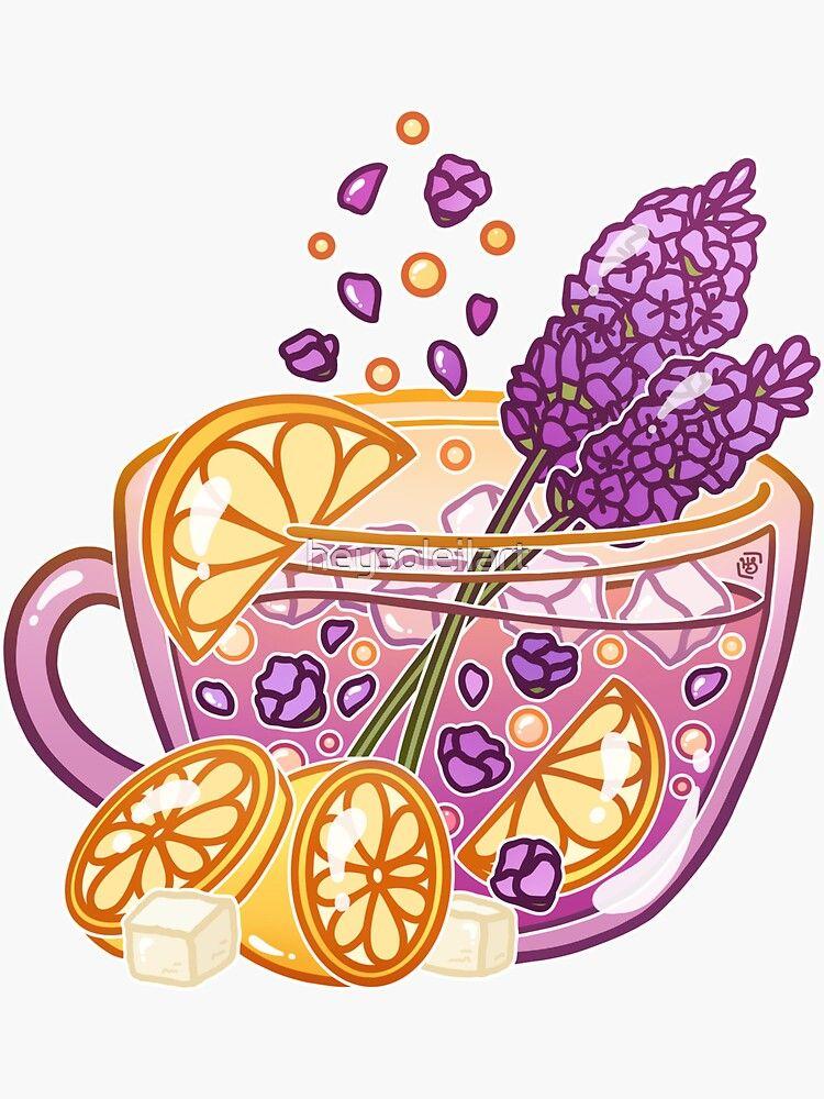 Pegatina ' hecho de flores de lavanda aromáticas y limones refrescantes' de heysoleilart