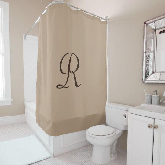Tan Shower Curtain With Dark Brown Monogram Zazzle Com Burlap