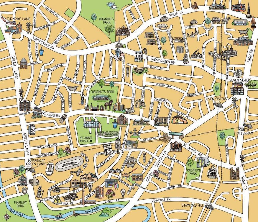 Map Of North London Uk.East And North London Brought To Life In Hand Drawn Maps Londonist