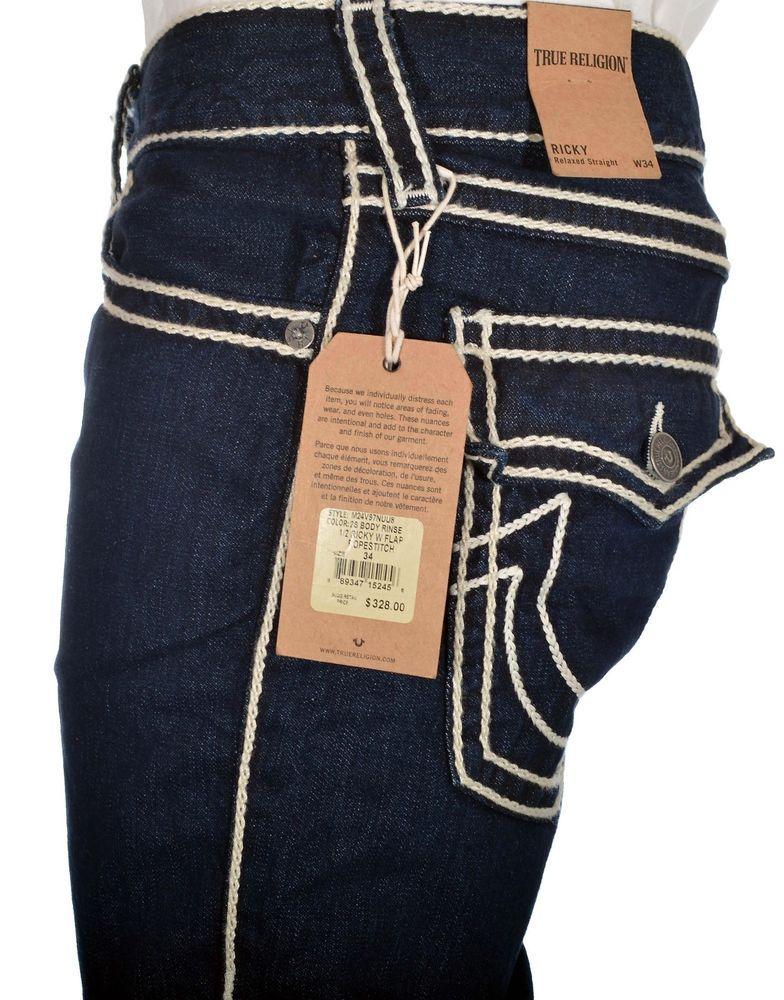 1cc5c1ef8 True Religion Mens Jeans Size 34 1 2 Ricky w  Flaps Rope stitch ...