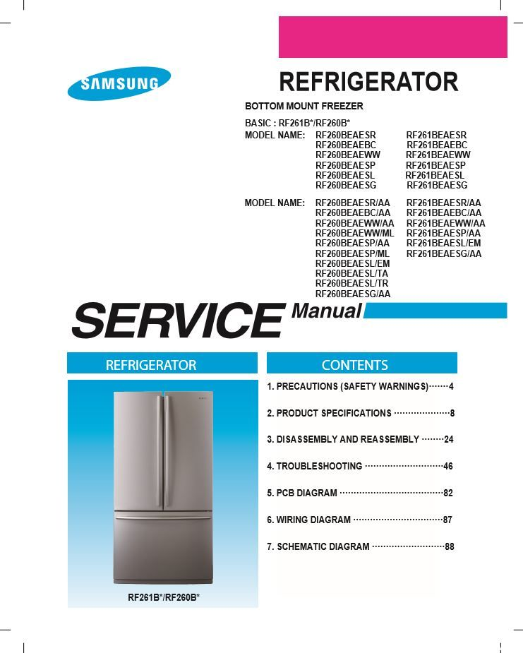 Samsung Rf261beaesg Rf260beaesg Rf261beaesl Service Manual And