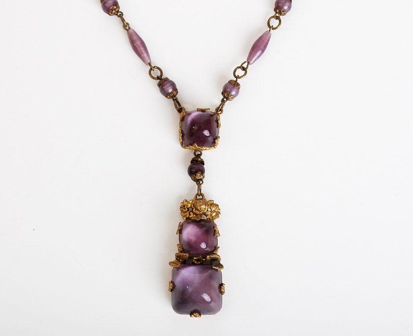 Antique 1900s1920s Art Nouveau Purple Czech Glass Drop Pendant Necklace 20s 30s Edwardian Estate Jewelry
