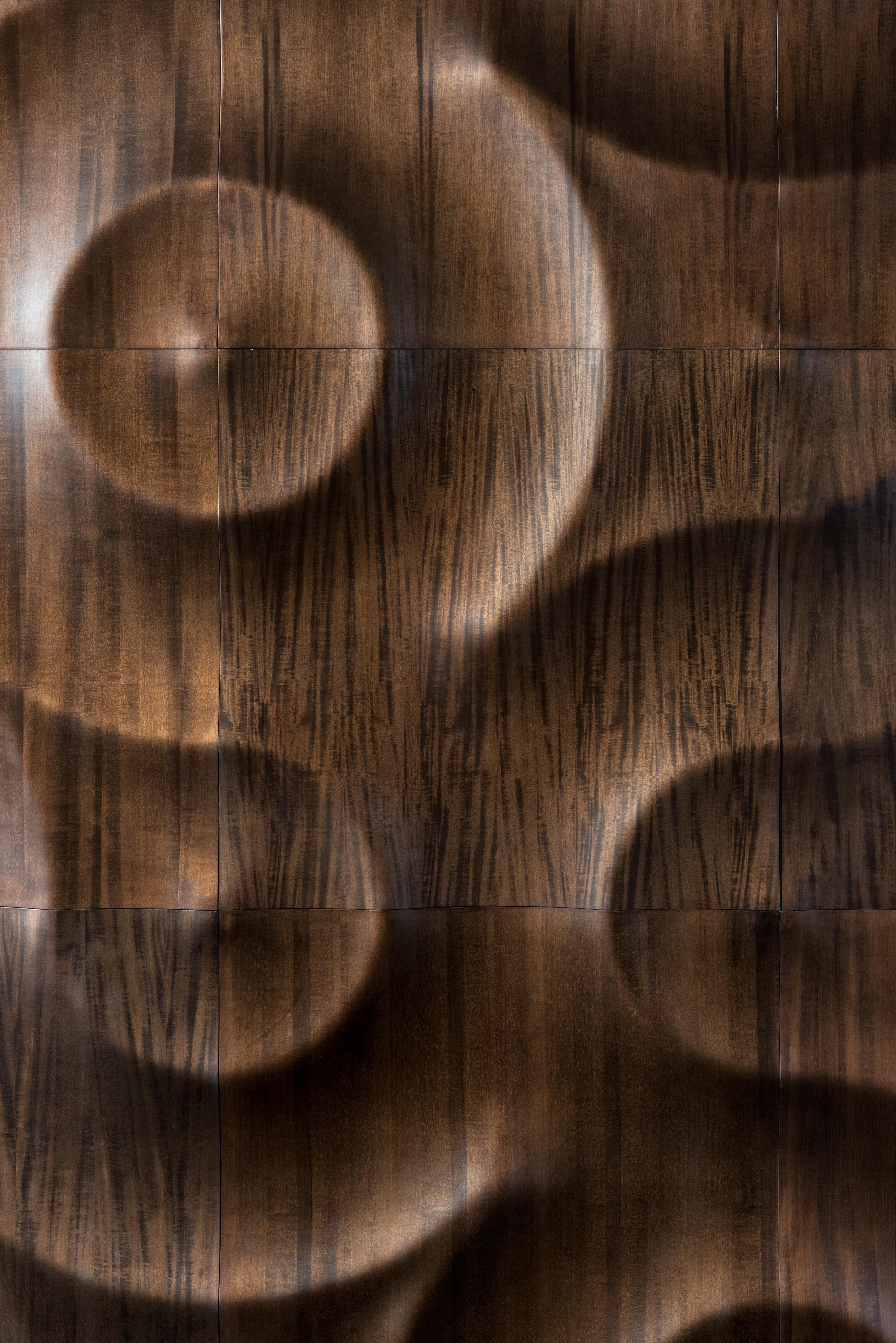 3D Multi Layer Wall Covering Of Real Wooden Veneers #Interiordesign #Interiordesigninspiration