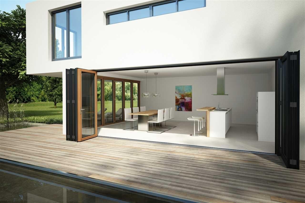 Solarlux glazen vouwwanden glas vouwsysteem balkon terras