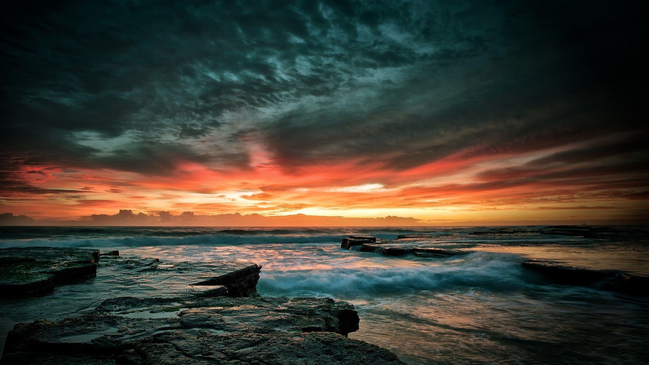 Sunset Over The Horizon Nature Beach Water Sea Sunset Waves 2k Wallpaper Hdwallpaper Desktop Dark Wallpaper Sunset Wallpaper Sunset