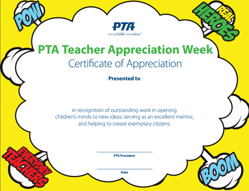 Use This Appreciation Certificate To Personally Thank Your Pta