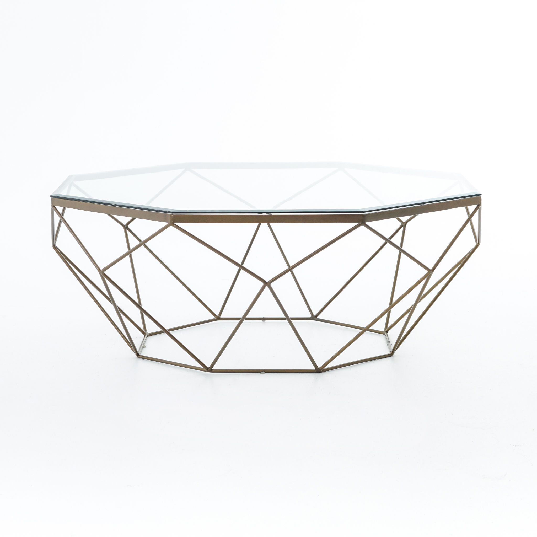 Shop for Four Hands Geometric Coffee Table Antique Brass IMAR 54