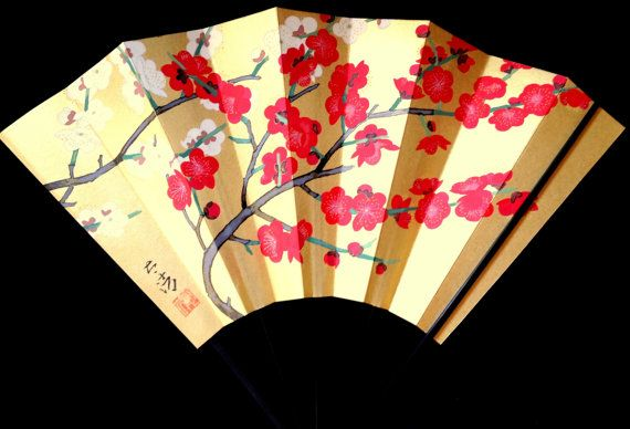 Japanese  Fan Vintage Paper Ogi Sensu F83 Hand by VintageFromJapan, $22.00 #vintage #shopping #etsy #Japan #art
