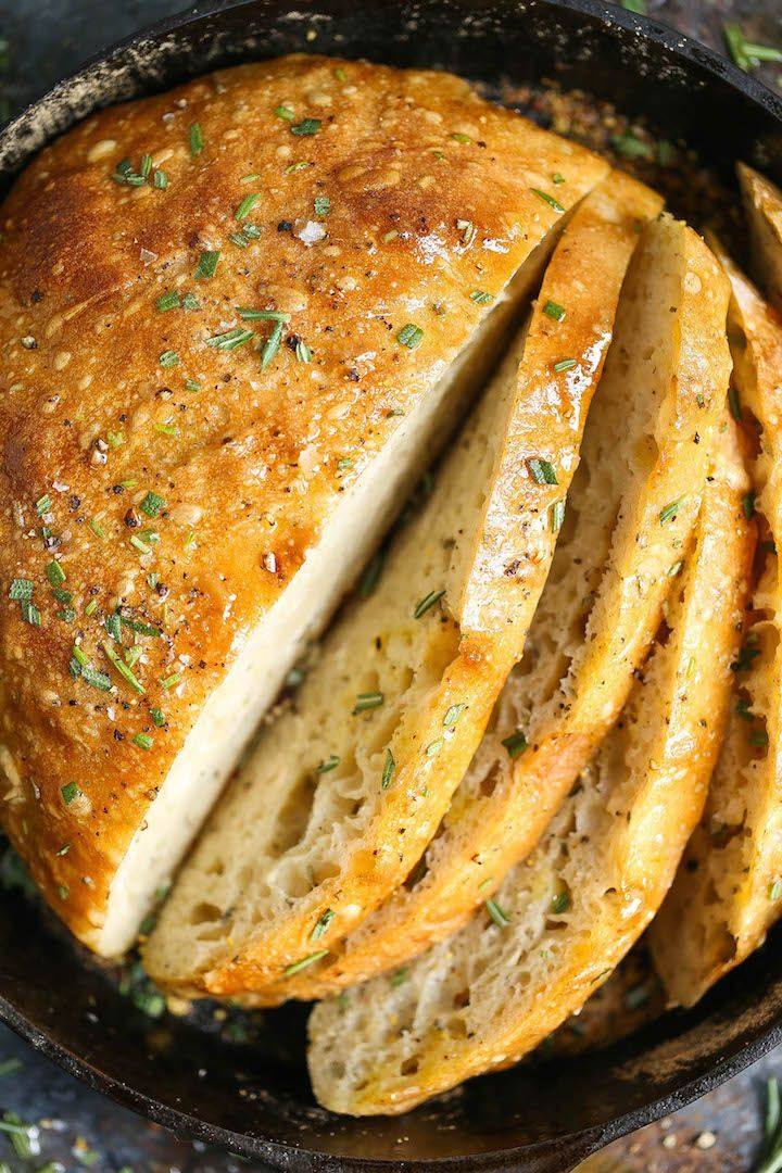 No Knead Rosemary Bread Resep Makanan Entrees Dan Sup