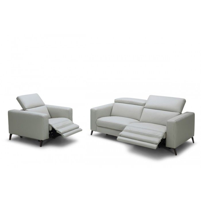 Divani Casa Roslyn Modern Grey Leather Sofa Set W Recliners With Images White Leather Sofas White Leather Sofa Set Modern White Leather Sofa