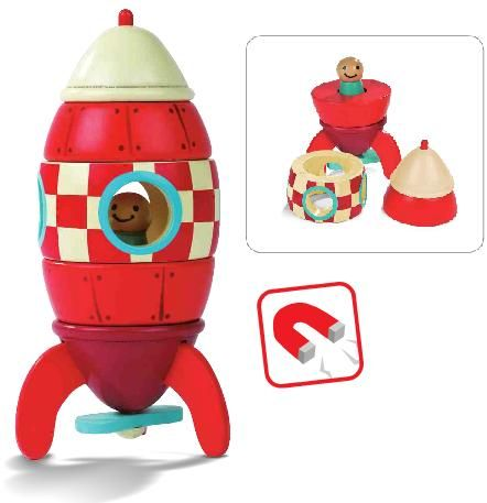 Wooden Rocket Ship Magnitic Stacking Toy By Janod A Great