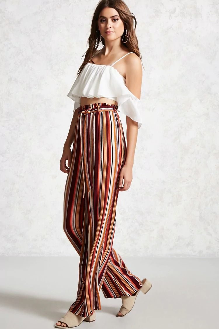 55df2721af0d Forever 21 Contemporary - A pair of woven palazzo pants featuring a self-tie  belt with an elasticized paperbag waist and an allover multicolored striped  ...