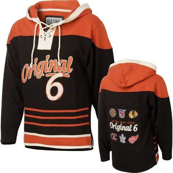 huge selection of 8013c 966f0 ORIGINAL SIX BLACK OLD TIME HOCKEY BALFOUR LACE UP PULLOVER HOODED  SWEATSHIRT