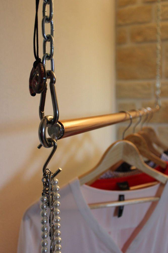 Frei schwebende Kleiderstange Industriedesign Kupfer Garderobe