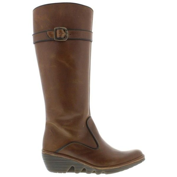 Fly Pipa Leather Wedge Knee High Boots, Brown ($210) ❤ liked on ...