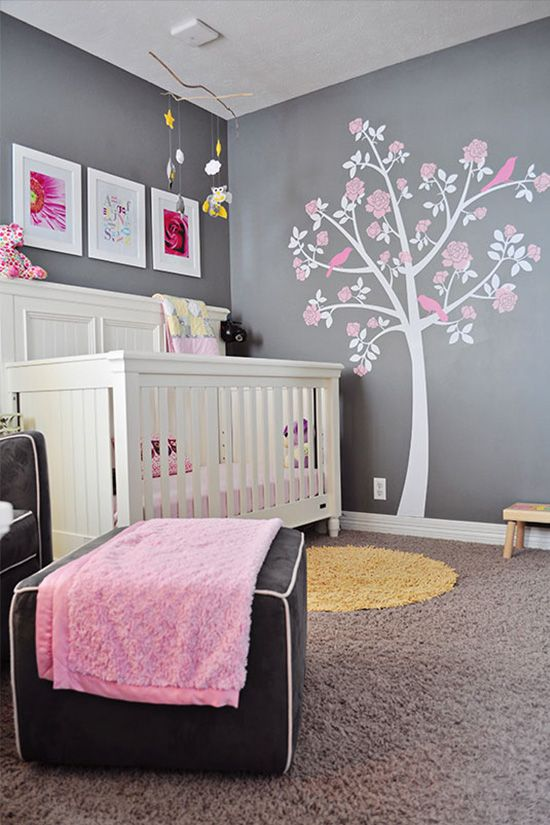 1000 images about chambre bb on pinterest grey bebe and cream nursery - Deco Gris Et Rose Chambre Fille