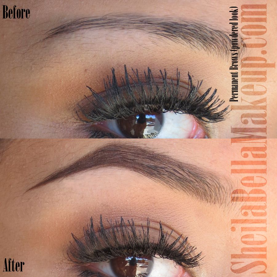 Permanent (tattooed) hair stroke brows powdered look /// I ...