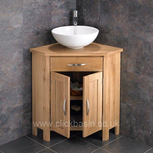 Ohio Solid Oak Double Door Corner Cabinet Arezzo Basin Corner Bathroom Vanity Bathroom Vanity Corner Vanity