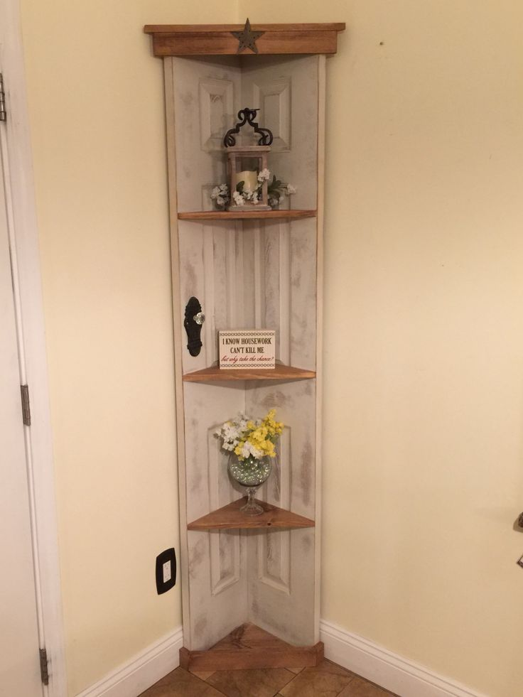Nice Custom Old Door Corner Accent Shelf Book Case Country Home Decor Www Etsy By