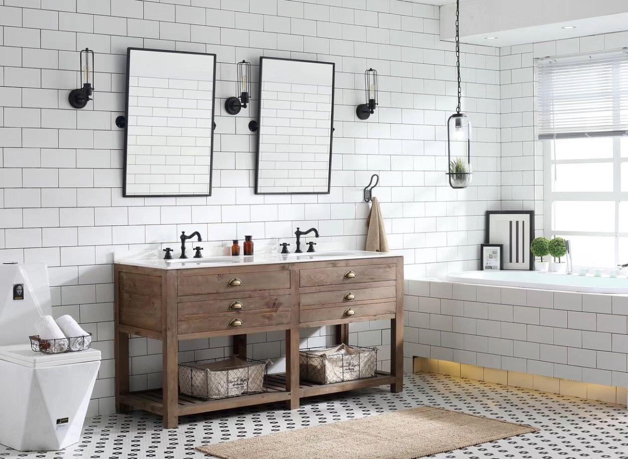 60inch Double Sink Bathroom Vanity With Two Pieces Bathroom Mirror Tilt Mirror Bathroomv Double Sink Bathroom Vanity Bathroom Sink Vanity Double Sink Bathroom