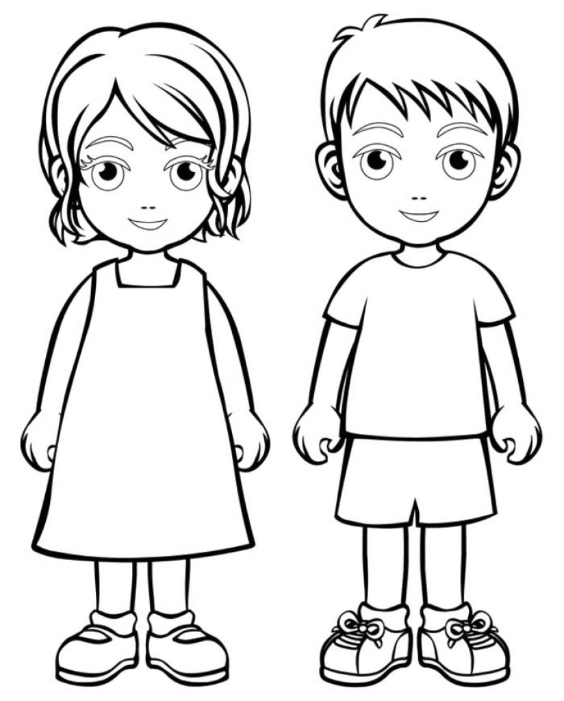 Boy Girl Coloring Page Boys And Girls Wear Colouring Pages Boys - Coloring-sheets-for-boys