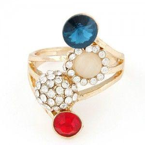 Rhinestone Embellished Colorful Gem Combo Ring