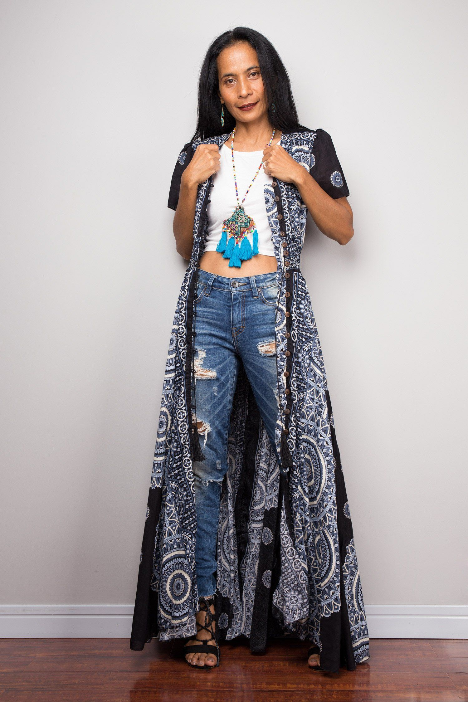Boho Duster Dress | Bohemian Garden Party Dress | Smocked Waist Shirt Dress with short sleeves | Gypsy duster 3