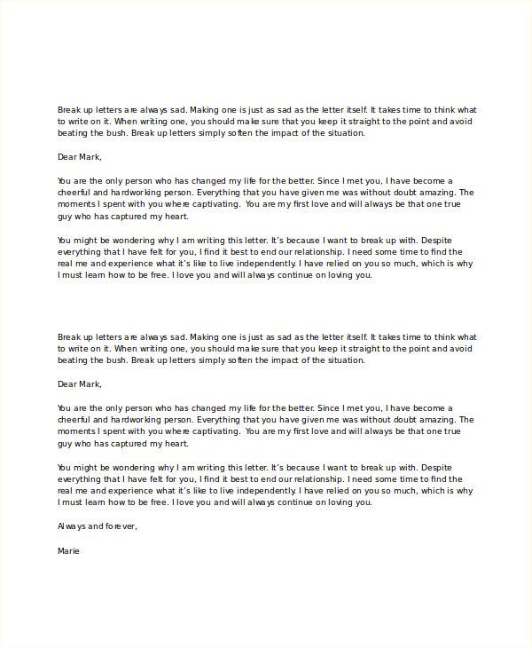 Break Letter Template Free Word Pdf Document Downloads Love