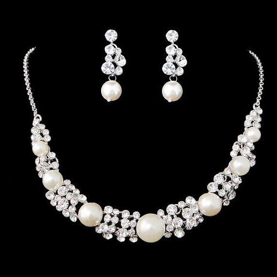 White/Ivory Pearl Bridal Jewelry Set Swarovski by Voguejewelry4u, $29.99