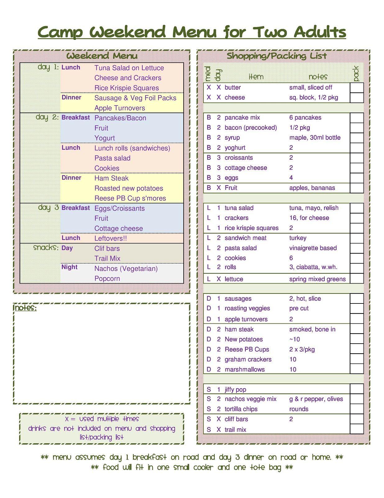 camping menu template