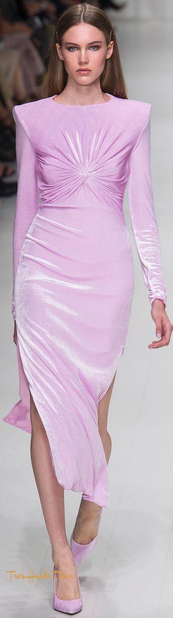 Versace Spring 2018 RTW #MFW #ss18 lilac velvet dress ...