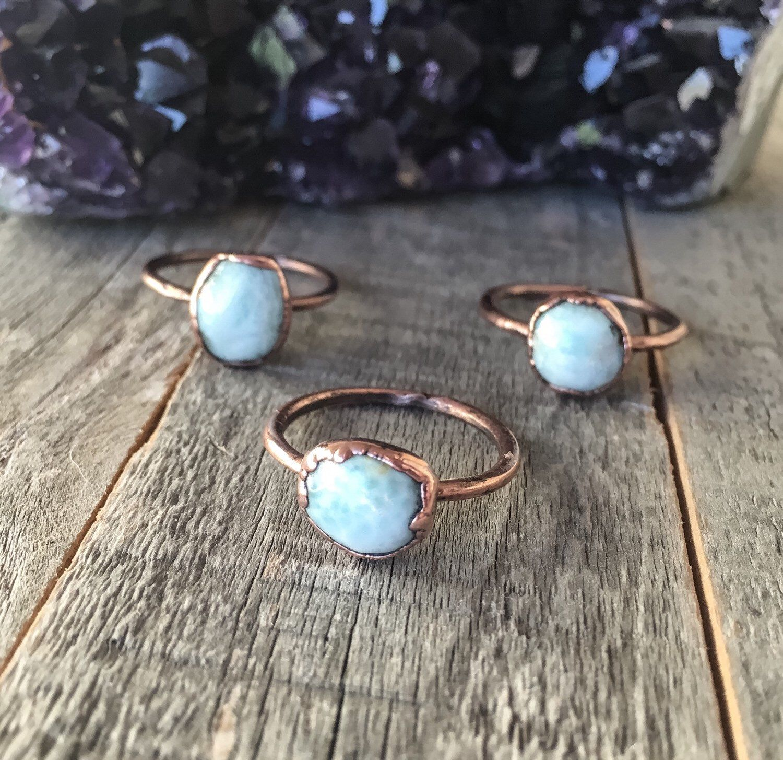 Electroformed Copper Jewelry Larimar Ring Handmade