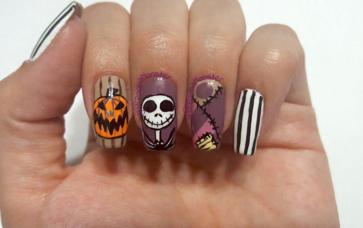 nightmare before christmas inspired nail art design - Nightmare Before Christmas Nail Art