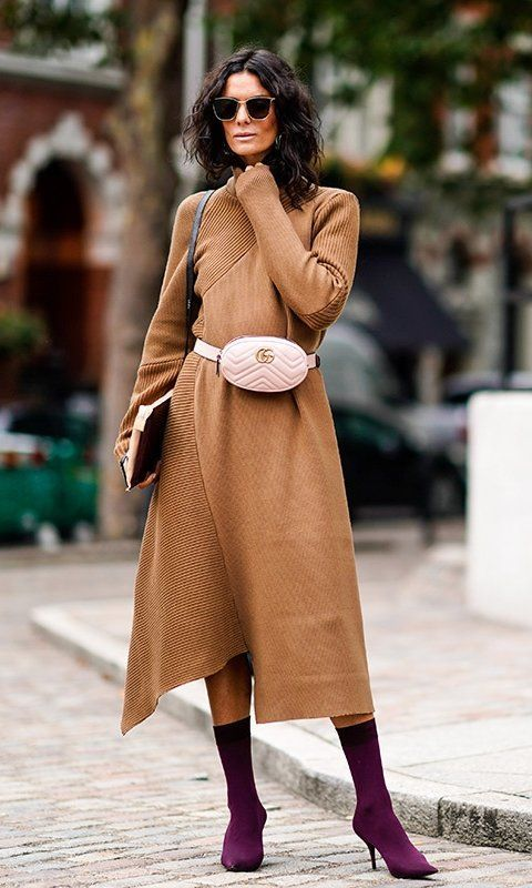 2ab38600d6ec London fashion week street style spring 2018  hedvig opshaug in a tan knit  dress