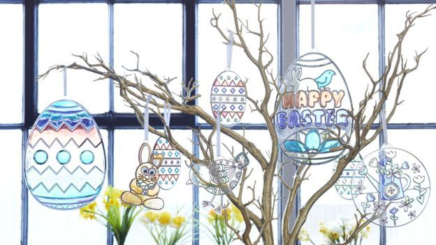 Easter trees are a thing now. It's where you hang your Easter ornaments and blue Easter crackers