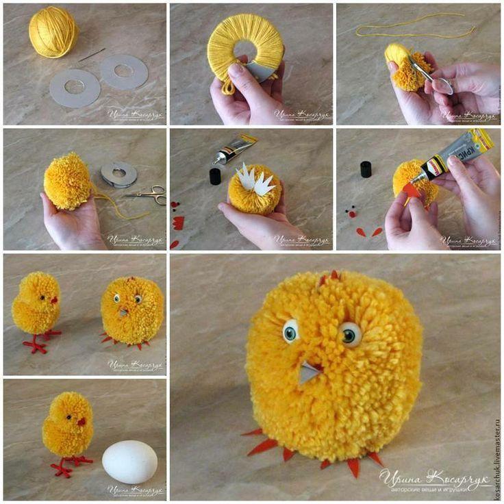 DIY Cute Pom-Pom Easter Chicks - Photo tutorial:   Помпончики ...