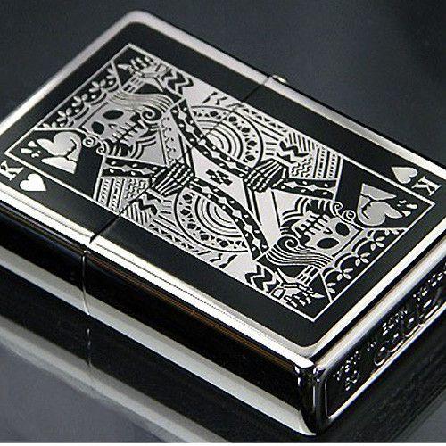 Zippo Lighter Bottomz Up Playing Cards King Skull Both Sides Japan Design Zippo Lighter Japan Design Zippo