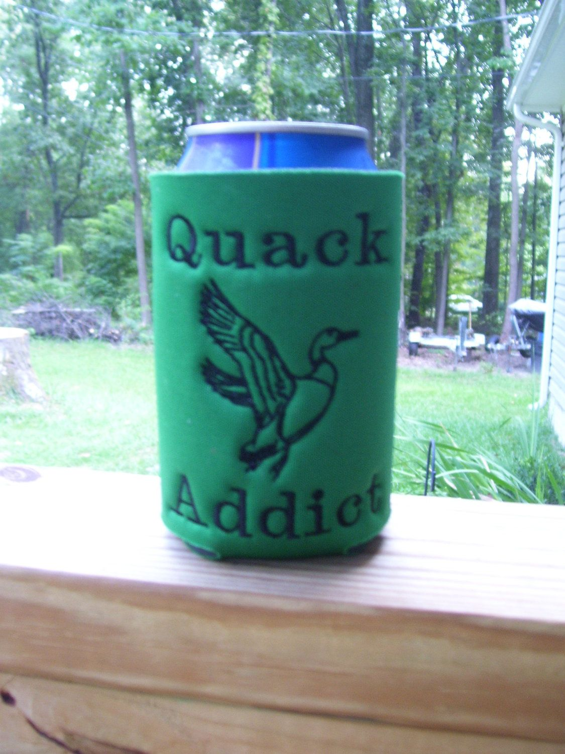 Funny can koozie perfect for the duck hunter with a sense