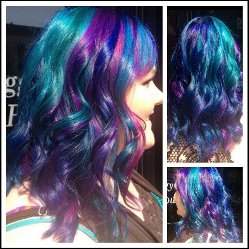 Pin By Sadie Hutchison On Make Me Up Teal And Purple Hair Blue Hair Purple Hair
