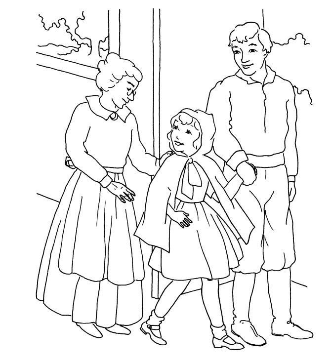 Little Red Riding Hood Was With Mom And Dad Coloring For