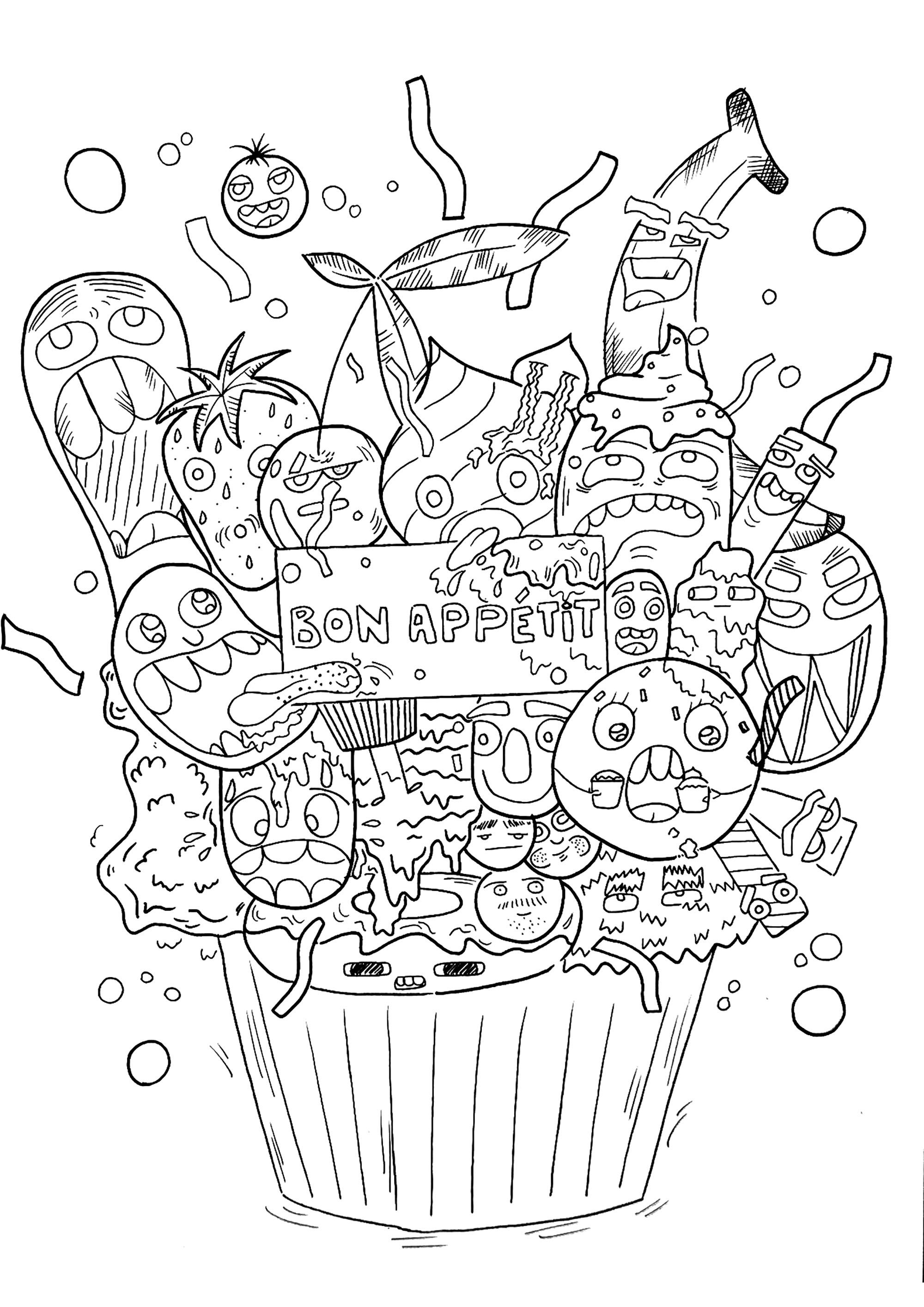 This Huge Cupcake With A Doodle Icing Is Going To Be Your Favorite Color Dessert From The Gallery Fairy Coloring Book Coloring Pages Dinosaur Coloring Pages