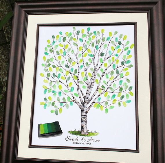 Custom Guest Book Wedding Gift Tree Personalized Birch Unique Guestbook Alternative Fingerprint