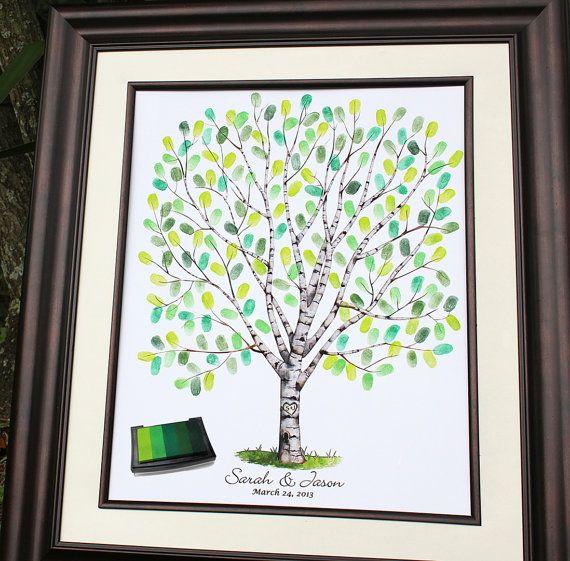Custom Guest Book Wedding Gift Tree Personalized Birch Unique Guestbook Alternative Fingerprint