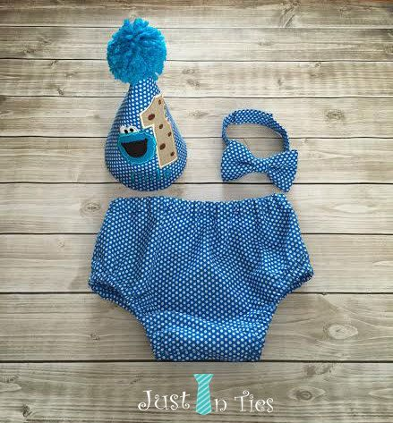 Cookie Monster Cake Smash Set First Birthday Outfit By