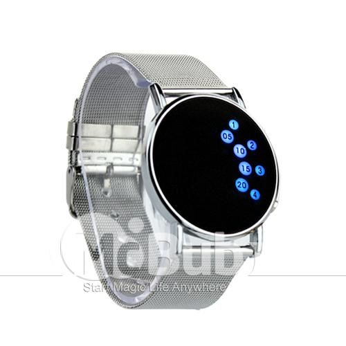 All watch can tell time, so choosing a watch often has more to do with style than function. For a geek, what's not to like about the innovative styling of this LED watch? The bracelet is smooth and shiny, while the display face is sleek and futuristic.  Since this wristwatch is really nice, and comes in a cool box, it makes a great gift idea. $7.19  http://www.mcbub.com/item/Fashion-Unisex-Blue-LED-Watch-Digital-Ingenious-Mirror-LED-Watch-White-149032/