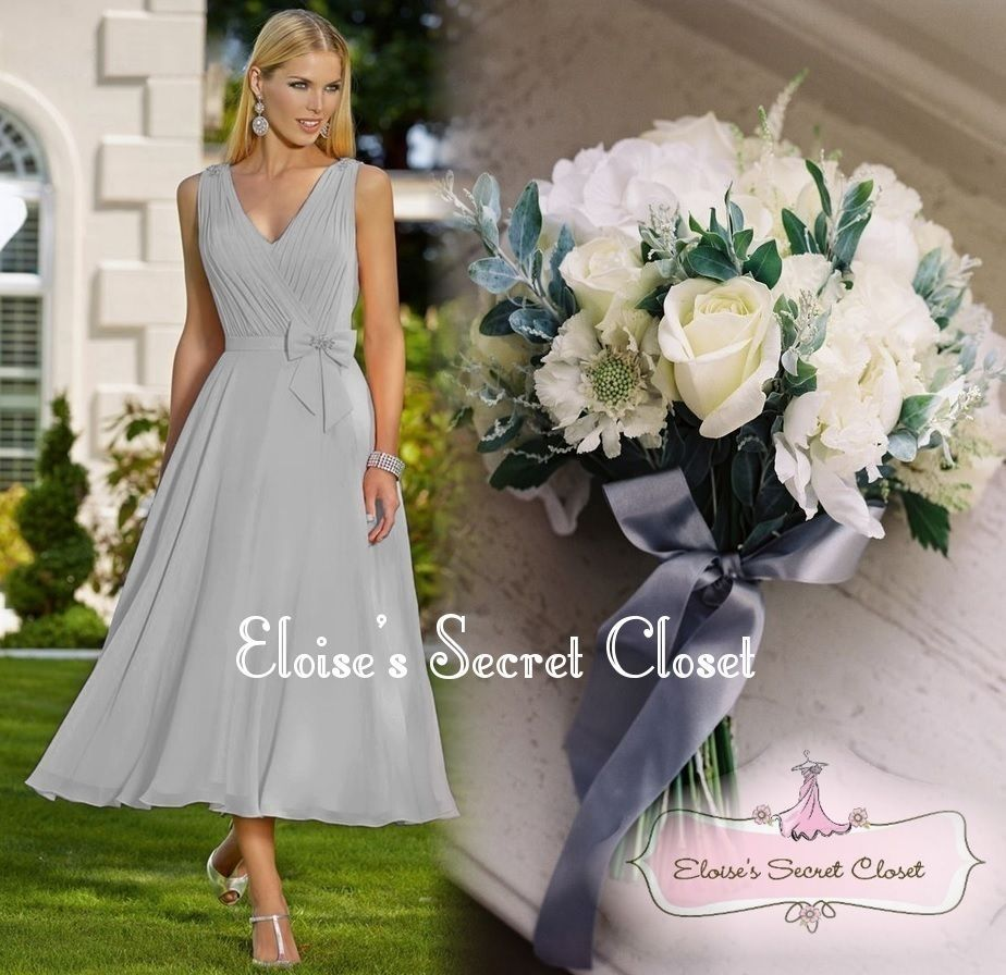 Jolie silver grey chiffon tea length prom bridesmaid occasion jolie silver grey chiffon tea length prom bridesmaid occasion dress uk 6 18 ombrellifo Images