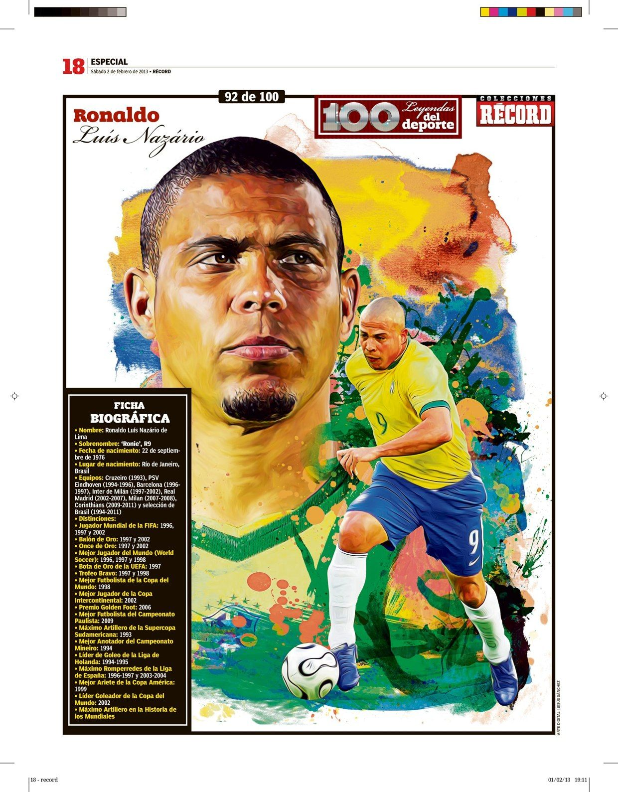 100 Leyendas Del Deporte 100 Sports Legends On Behance Football Ronaldo Football Soccer Artwork Ronaldo Luis Nazario De Lima