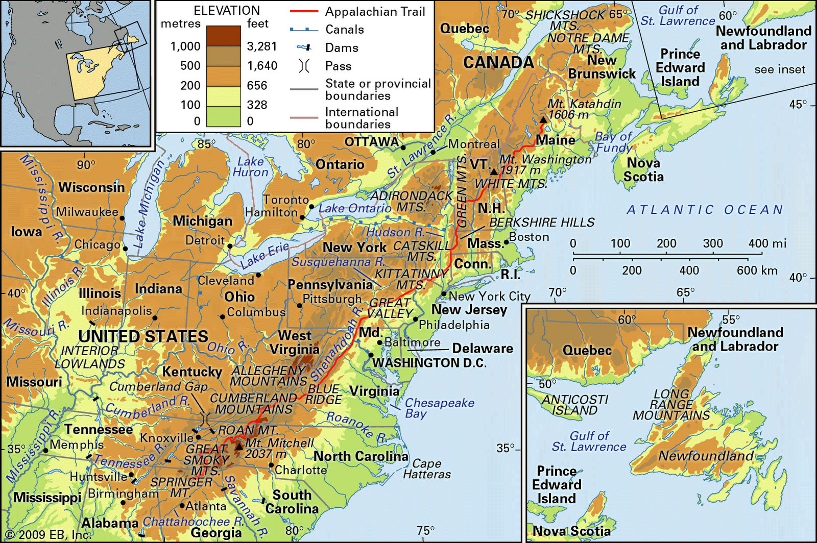 Eastern United States Public Domain Maps By PAT The Free Open Usa - Physical map of northeast us