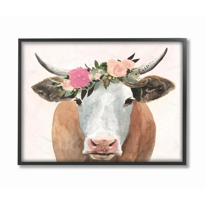 Springtime Flower Crown Farm Cow With Horns Picture Frame Graphic Art Print On Canvas Cow Wall Art Stretched Canvas Wall Art Textured Wall Art