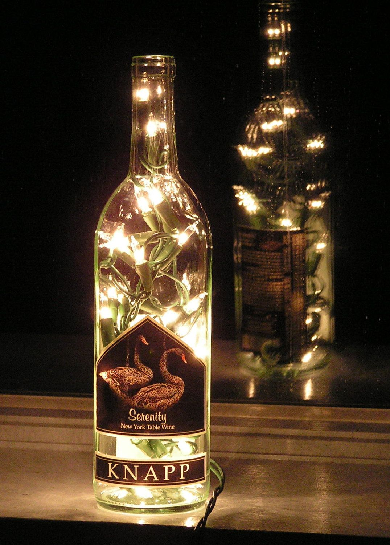 Lights For Wine Bottles Clear Wine Bottle Light With White Lights Serenity By Vtbrownjs
